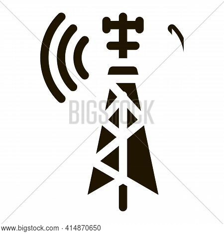 Air Navigation Signal Tower Glyph Icon Vector. Air Navigation Signal Tower Sign. Isolated Symbol Ill