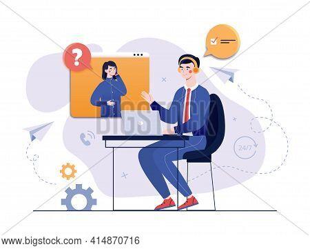 Call Center, Hotline, Customer Support Department Staff, Telemarketing Agent, Male Operator Advises
