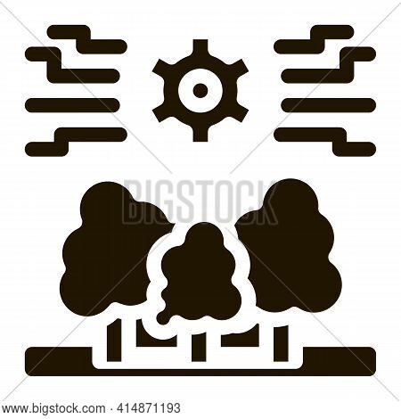 Forestry Mechanical Gear Glyph Icon Vector. Forestry Mechanical Gear Sign. Isolated Symbol Illustrat