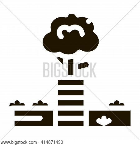 Tree Safe Fence Glyph Icon Vector. Tree Safe Fence Sign. Isolated Symbol Illustration
