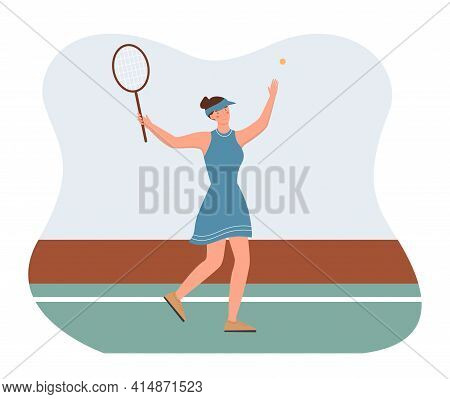 Woman Playing Badminton, Summer Active Games, Outdoor Activity, Healthy Lifestyle, Summer Leisure. F