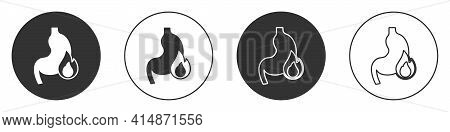 Black Stomach Heartburn Icon Isolated On White Background. Stomach Burn. Gastritis And Acid Reflux,