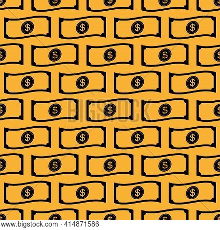 Seamless Pattern Of Corrugated Banknotes For Financial Company Background. For Banknote Patterned Cl