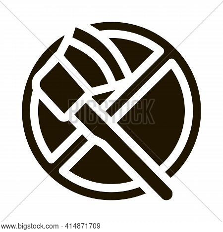 Crossed Out Ax Glyph Icon Vector. Crossed Out Ax Sign. Isolated Symbol Illustration
