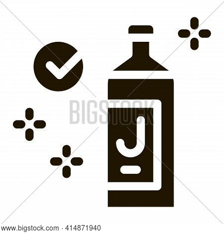 Juice Bottle Approved Mark Glyph Icon Vector. Juice Bottle Approved Mark Sign. Isolated Symbol Illus