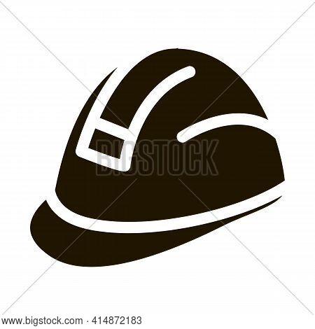 Builder Heavy Helmet Glyph Icon Vector. Builder Heavy Helmet Sign. Isolated Symbol Illustration