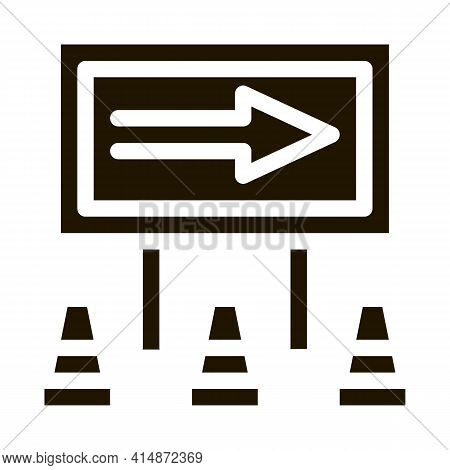 Road Mark Show Direction Glyph Icon Vector. Road Mark Show Direction Sign. Isolated Symbol Illustrat