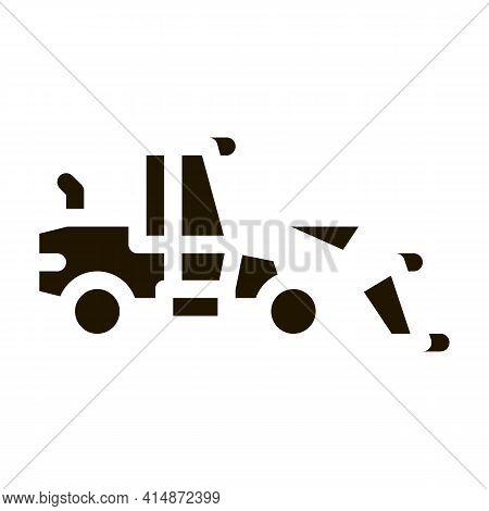 Road Repair Machine Glyph Icon Vector. Road Repair Machine Sign. Isolated Symbol Illustration