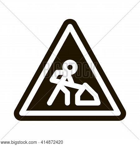 Road Repair Mark Glyph Icon Vector. Road Repair Mark Sign. Isolated Symbol Illustration