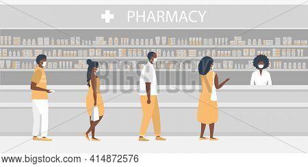 Pharmacy During The Coronavirus Epidemic. Black People In Medical Masks In The Pharmacy. The Pharmac