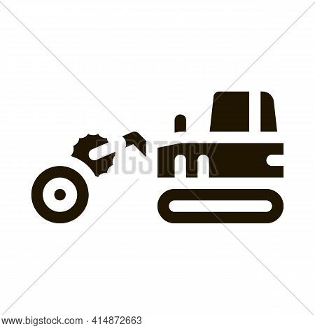 Logging Tractor Glyph Icon Vector. Logging Tractor Sign. Isolated Symbol Illustration