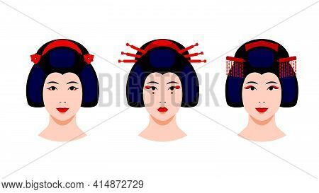 Geisha Set - Portrait Of Japanese Geisha Women With Different Make-up, Hairstyle, Hairpins. Close-up