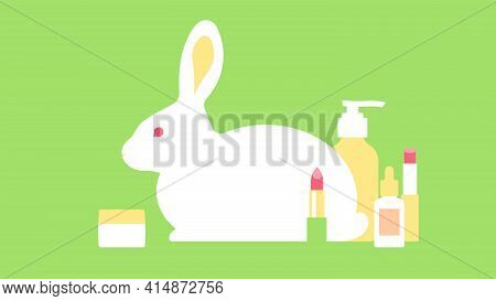 Cruelty Free Concept - Cosmetic Products And Silhouette Of Rabbit. Cruelty Free Stylized Text. Conce