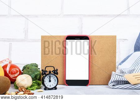 Organic Food And Phone With White Mockup, Craft Card Showing Dash Diet Inscription, Little Clock, He