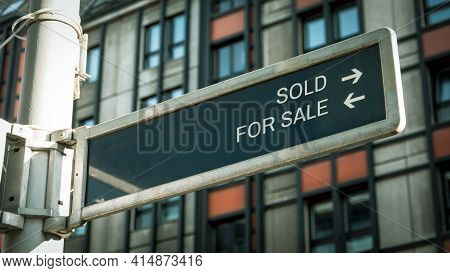 Street Sign The Direction Way To Sold Versus For Sale