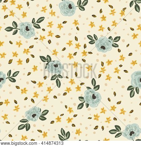 Blue Roses - Vintage Floral Seamless Vector Pattern. Pretty Blue Roses With Yellow Wild Flowers Scat