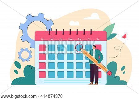Tiny Man In Front Of Giant Calendar Cartoon Vector Illustration. Person Checking Schedule, Events, M
