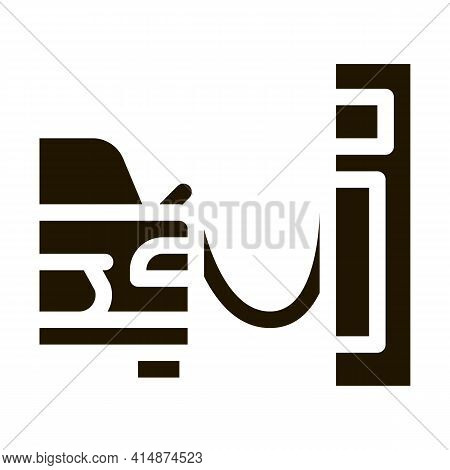 Refueling Car Glyph Icon Vector. Refueling Car Sign. Isolated Symbol Illustration