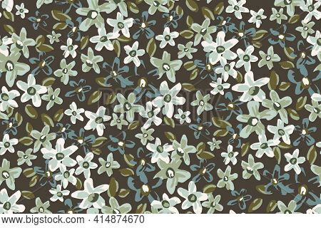 Ditsy Club Floral Seamless Vector Pattern. Pretty Ditsy Flower Pattern Painted In Mint, Blue, Navy,