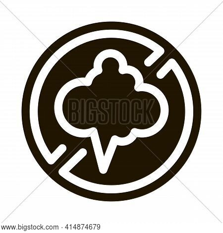 Cloud Smog Crossed Out Sign Glyph Icon Vector. Cloud Smog Crossed Out Sign Sign. Isolated Symbol Ill