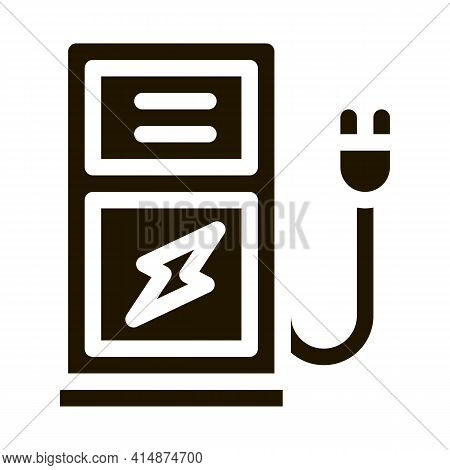 Electro Car Charge Station Glyph Icon Vector. Electro Car Charge Station Sign. Isolated Symbol Illus