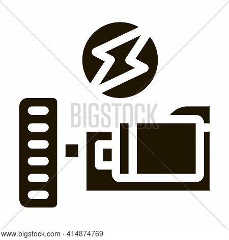 Electro Car Engine Glyph Icon Vector. Electro Car Engine Sign. Isolated Symbol Illustration