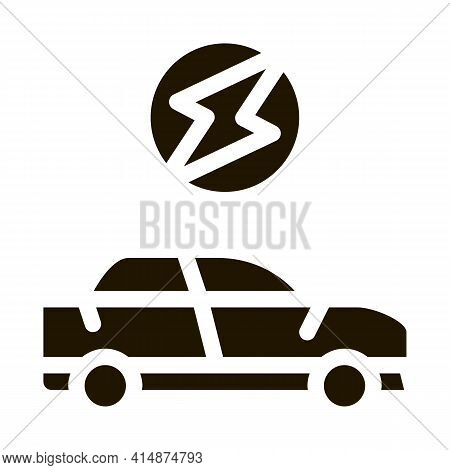 Electro Car Glyph Icon Vector. Electro Car Sign. Isolated Symbol Illustration