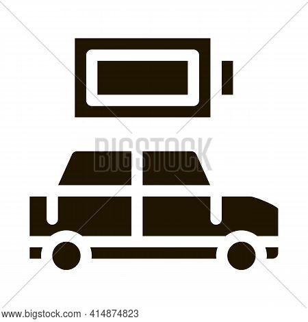Electro Car Full Battery Glyph Icon Vector. Electro Car Full Battery Sign. Isolated Symbol Illustrat