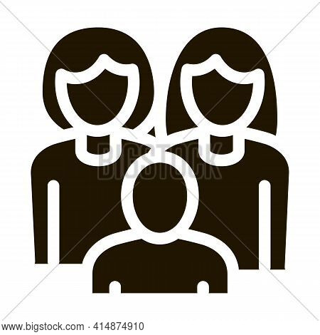Women Homosexual Family And Child Glyph Icon Vector. Women Homosexual Family And Child Sign. Isolate