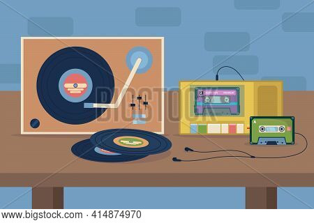 Vinyl And Cassette Players With Earphones On Table Illustration. Old Retro Ways Of Listening To Musi