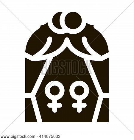 Lesbian Marriage Glyph Icon Vector. Lesbian Marriage Sign. Isolated Symbol Illustration