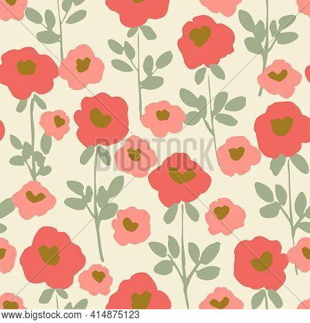 Solid Warm Blossoms Seamless Vector Pattern. Cute Pink Flowers In Solid Blocks With Sweet Mint Green