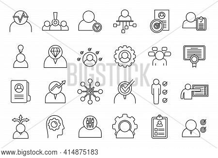 Career Personal Traits Icons Set. Outline Set Of Career Personal Traits Vector Icons For Web Design
