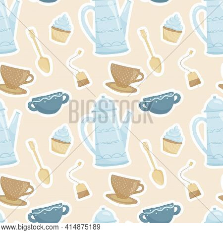 Cute Cozy Vector Seamless Pattern. Cups And Teapot With Tea, Tea Bag, Muffin And Teaspoon. Tea Cerem