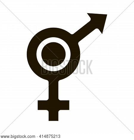 Bisexual Sign Glyph Icon Vector. Bisexual Sign Sign. Isolated Symbol Illustration