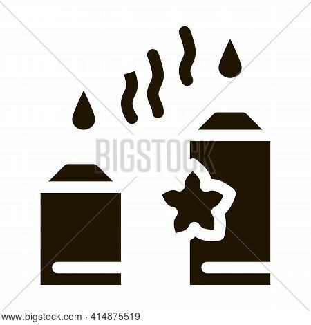 Aromatic Burning Candles Glyph Icon Vector. Aromatic Burning Candles Sign. Isolated Symbol Illustrat