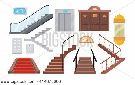 Set Of Cartoon Metal And Wood Staircases, Lifts, Escalators. Flat Vector Illustration. Isolated Stai
