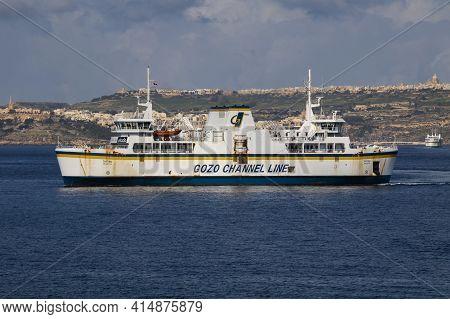 Mgarr, Malta - November 27, 2016: Gozo Channel Line, Ta Pinu Vessel, Maltese Passenger And Ro-ro Car