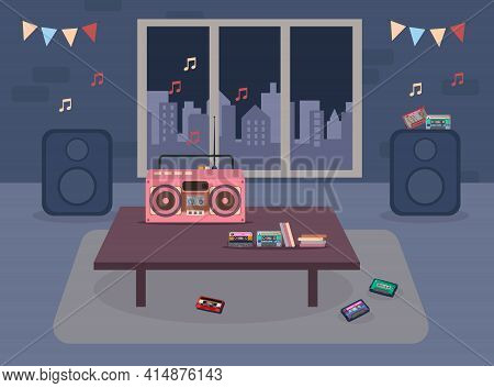 Tape Recorder And Cassettes On Table In Living Room Illustration. Cassette Player, Tapes, Disc, And