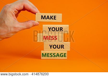 Business Concept Growth Success Process. Wood Blocks On Orange Background, Copy Space. Businessman H