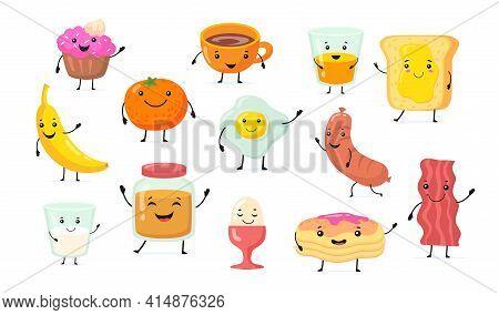 Set Of Cute Funny Breakfast Food Cartoon Characters. Flat Vector Illustration. Kawaii Food With Smil