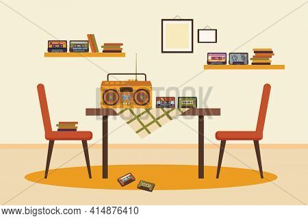 Tape Recorder And Cassettes On Table In Dining Room Illustration. Old Cassette Player, Tapes And Dis