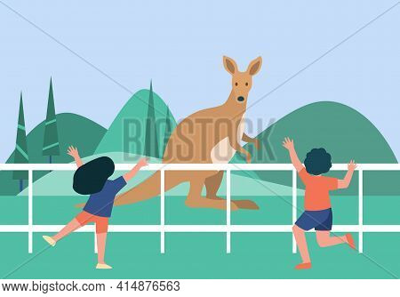 Cute Children Watching Kangaroo In Zoo. Kid, Mammal, Holiday Flat Vector Illustration. Animals And W