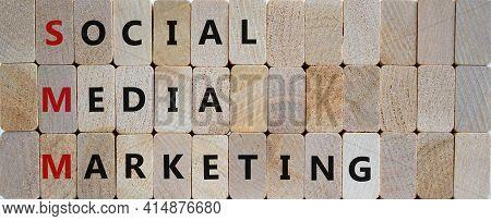 Smm, Social Media Marketing Symbol. Concept Words 'smm, Social Media Marketing' On Wooden Blocks On