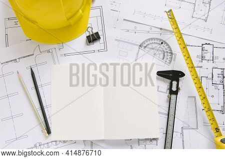 Helmet Drafting Supplies Blueprints. High Quality And Resolution Beautiful Photo Concept