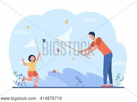 Cheerful Dad And Girl Catching Butterflies. Insect, Net, Holiday Flat Vector Illustration. Family An