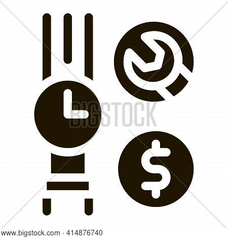Watch Repair Cost Glyph Icon Vector. Watch Repair Cost Sign. Isolated Symbol Illustration