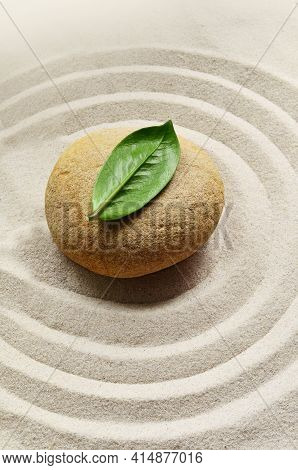 Sand, Circles And Stone. Green Leaf. Zen And Spa Concept.