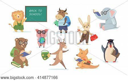 Back To School Set With Funny Cartoon Animals. Flat Vector Illustration. Collection Of Animals Repre