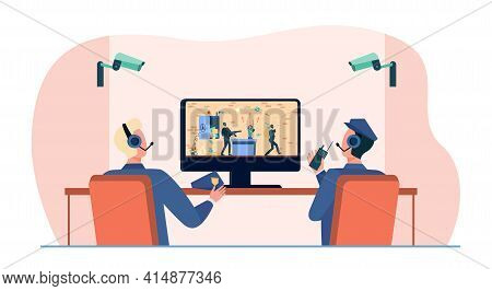 Security Guards Watching Robbery On Cctv. Camera, Thief, Bank Flat Vector Illustration. Crime And Pr